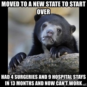 sad bear - Moved to a new state to start over Had 4 surgeries and 9 hospital stays in 13 months and now can't work