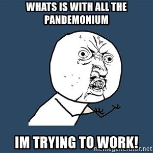 Y U No - whats is with all the pandemonium im trying to work!