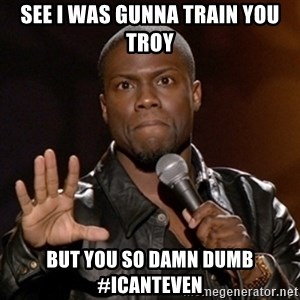 Kevin Hart - See I was gunna train you Troy BUT YOU SO DAMN DUMB #ICANTEVEN