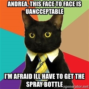 Business Cat - andrea, this face to face is uancceptable I'm afraid ill have to get the spray bottle