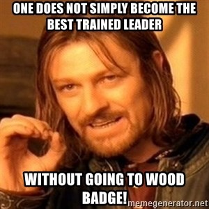 One Does Not Simply - One does not simply become the best trained leader without going to Wood Badge!