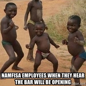 Dancing African Kid - namfisa employees when they hear the bar will be opening