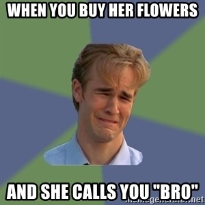 "Sad Face Guy - WHEN YOU BUY HER FLOWERS AND SHE CALLS YOU ""BRO"""