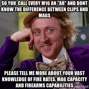 """Willy Wonka - so you  call every m16 an """"ar"""" and dont know the difference between clips and mags please tell me more about your vast knowledge of fire rates, mag capacity and firearms capabilities"""