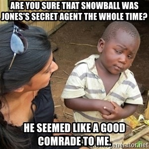 Skeptical 3rd World Kid - Are you sure that snowball was jones's secret agent the whole time? He seemed like a good comrade to me.