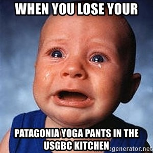 Crying Baby - WHEN you lose your Patagonia yoga pants in the USGBC kitchen