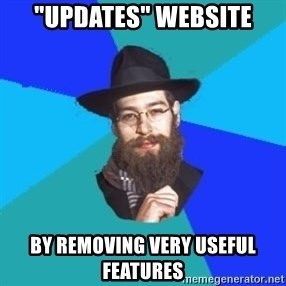 """Jewish Dude - """"updates"""" website by removing very useful features"""