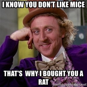 Willy Wonka - I know you don't like mice that's  why i bought you a rat