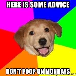 Advice Dog - Here is some advice  Don't poop on mondays