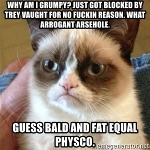 Grumpy Cat  - why am I grumpy? just got blocked by trey Vaught for no fuckin reason. what arrogant arsehole. guess bald and fat equal physco.