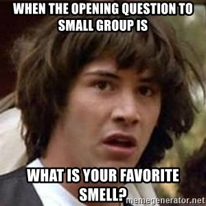 Conspiracy Keanu - When the opening question to small group is what is your favorite smell?