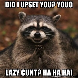 evil raccoon - Did I upset you? YouG Lazy cunt? Ha ha ha!