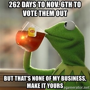 Kermit The Frog Drinking Tea - 262 days to Nov. 6th to                  vote them out but that's none of my business, make it YOURs