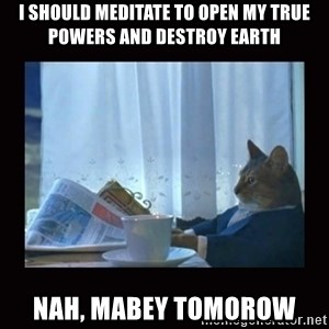 i should buy a boat cat - i should meditate to open my true powers and destroy earth nah, mabey tomorow