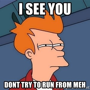 Futurama Fry - I SEE YOU DONT TRY TO RUN FROM MEH