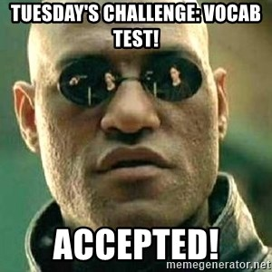 What if I told you / Matrix Morpheus - TUESDAY'S CHALLENGE: VOCAB TEST! ACCEPTED!
