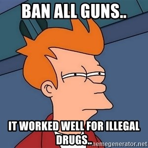 Futurama Fry - Ban all guns.. It worked well for illegal drugs..