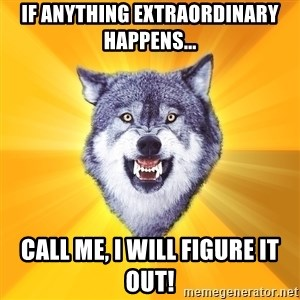 Courage Wolf - If anything extraordinary happens... Call me, I will figure it out!