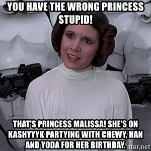 princess leia - You have the wrong princess stupid! That's princess Malissa! She's on Kashyyyk partying with Chewy, Han and Yoda for her birthday.