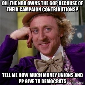 Willy Wonka - oh, the nra owns the GOP because of their campaign contributions? Tell me how much money unions and PP give to Democrats