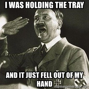 Adolf Hitler - i was holding the tray  and it just fell out of my hand