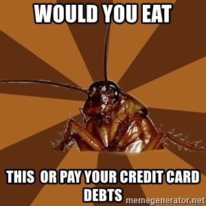 Eat The Cockroach - would you eat this  or pay your credit card debts