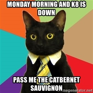 Business Cat - Monday morning and K8 is down Pass me the catbernet sauvignon