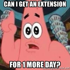 Patrick ingat ! - can i get an extension for 1 more day?