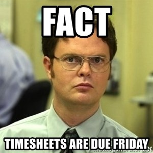 Dwight Schrute - FACT Timesheets are due Friday