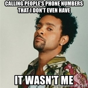 Shaggy. It wasn't me - Calling people's phone numbers that I don't even have it wasn't me
