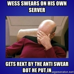 Picard facepalm  - Wess swears on his own server gets rekt by the anti swear bot he put in