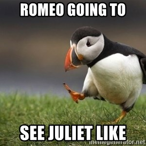Unpopular Opinion Puffin - Romeo going to  see Juliet like