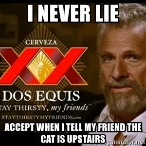 Dos Equis Man - I never lie Accept when I tell my friend the cat is upstairs