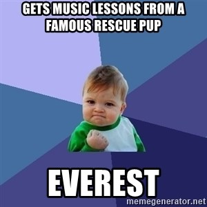 Success Kid - Gets music lessons from a famous rescue pup Everest
