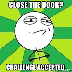 Challenge Accepted 2 - Close the door?  Challenge accepted.