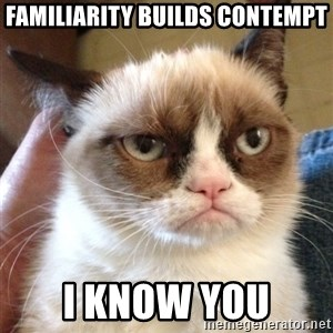 Grumpy Cat 2 - Familiarity Builds Contempt I know you