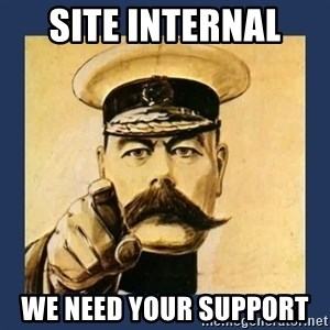 your country needs you - Site Internal  We need your support