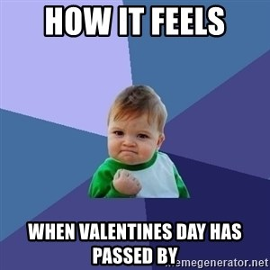 Success Kid - How it feels  when valentines day has passed by