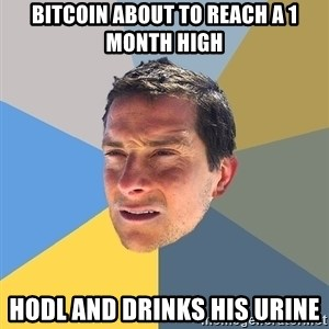 Bear Grylls - bitcoin about to reach a 1 month high HODL and drinks his urine