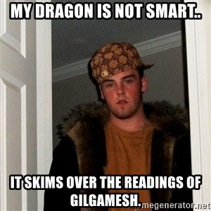 Scumbag Steve - My dragon is not smart.. It skims over the readings of Gilgamesh.