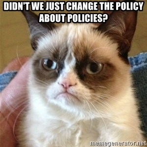 Grumpy Cat  - Didn't we just change the policy about policies?