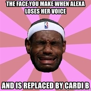 LeBron James - The face you make when Alexa loses her voice And is replaced by Cardi B