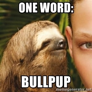 Whispering sloth - One word: BULLPUP