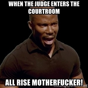 surprise motherfucker - When the judge enters the courtroom All Rise Motherfucker!