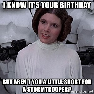princess leia - I know it's your birthday but aren't you a little short for a stormtrooper?