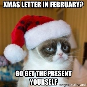 Grumpy Cat Santa Hat - Xmas letter in February? go get the present yourself