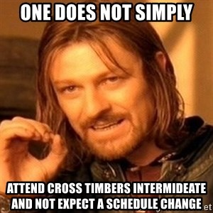One Does Not Simply - One Does Not Simply Attend Cross Timbers Intermideate and not Expect A Schedule change