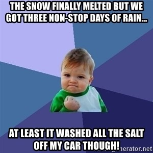 Success Kid - The snow finally melted but we got three non-stop days of rain... At least it washed all the salt off my car though!