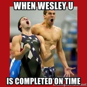 Ecstatic Michael Phelps - When Wesley U is completed on time
