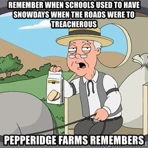Pepperidge Farm Remembers Meme - remember when schools used to have snowdays when the roads were to treacherous  pepperidge farms remembers